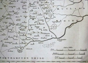The map used by William Burton, with its three scales and showing the road from Market Harborough to Leicester