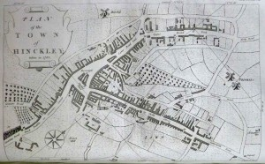 Hinckley in 1782, map by J. Robinson for John Nichols