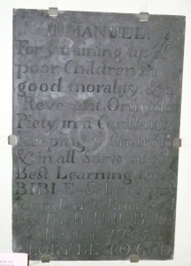 Slate record of Richard Hill's school of 1715